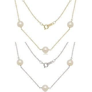 "Curata 14k Gold 7mm Freshwater Cultured Pearl Station Tin-cup Necklace (16"" or 18"") - White"
