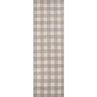 "Hand-Hooked Gingham Polyester Rug (2'3"" x 7'6"")"