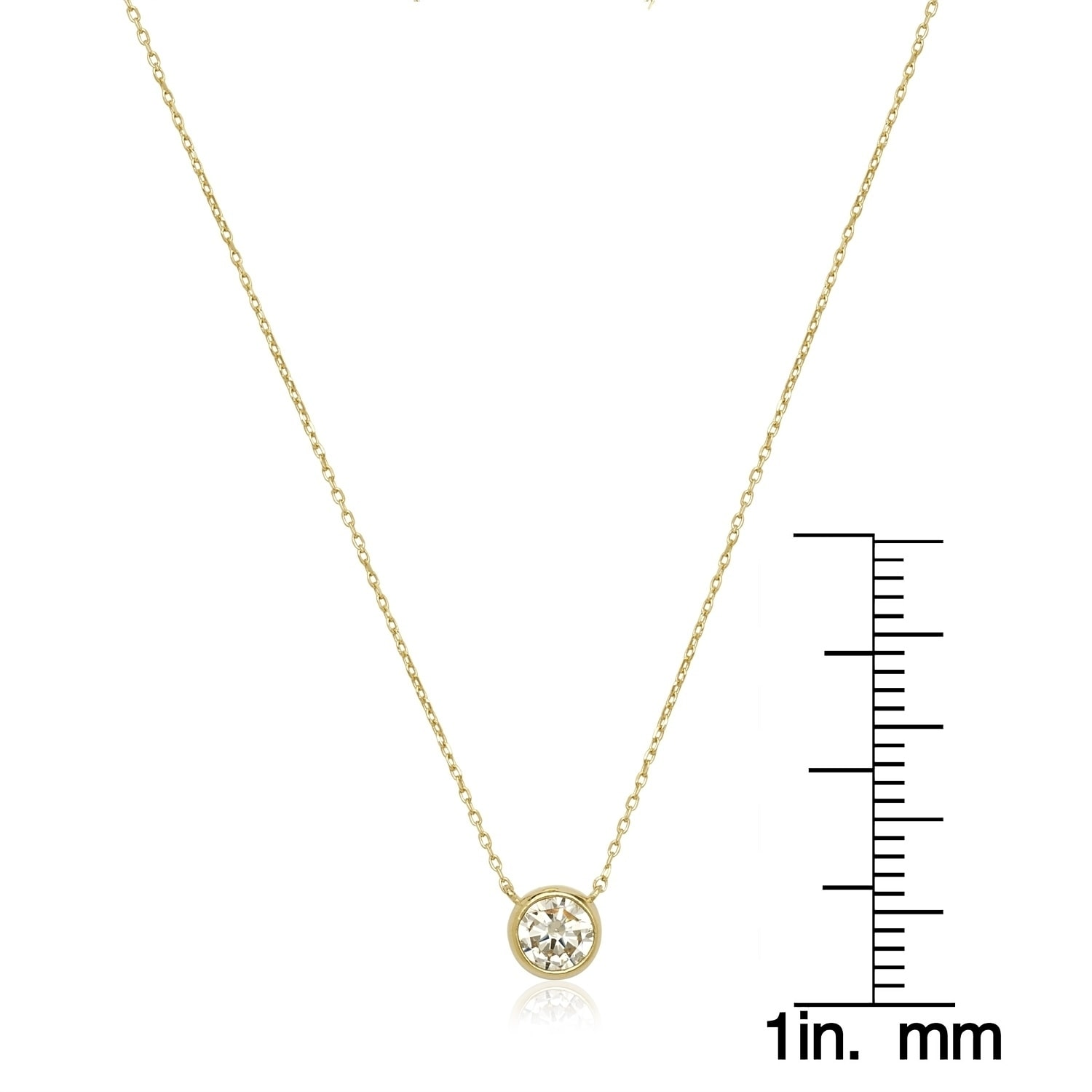 Yellow or White Gold 14K Gold Drop Pendant with Cubic Zirconia