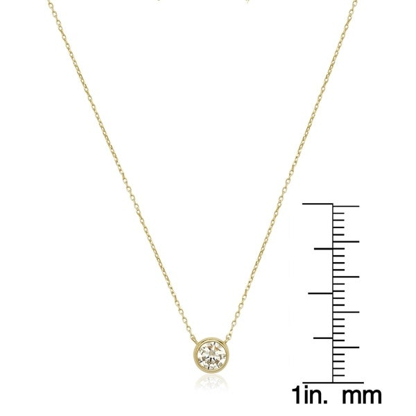 14k Gold 6mm Cubic Zirconia Bezel Solitaire Necklace - White
