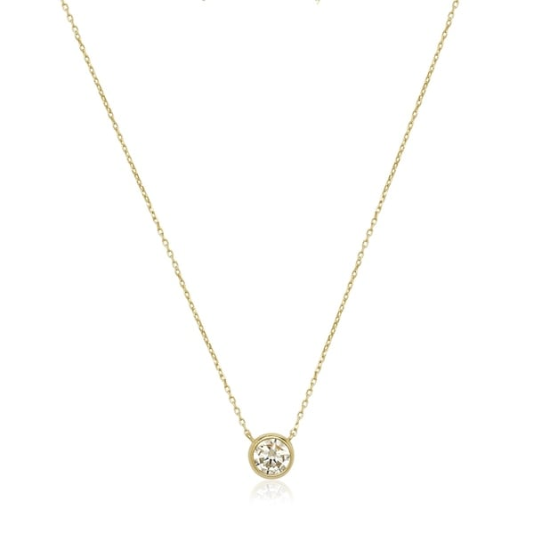 14k Gold 6mm Cubic Zirconia Bezel Solitaire Necklace - White. Opens flyout.