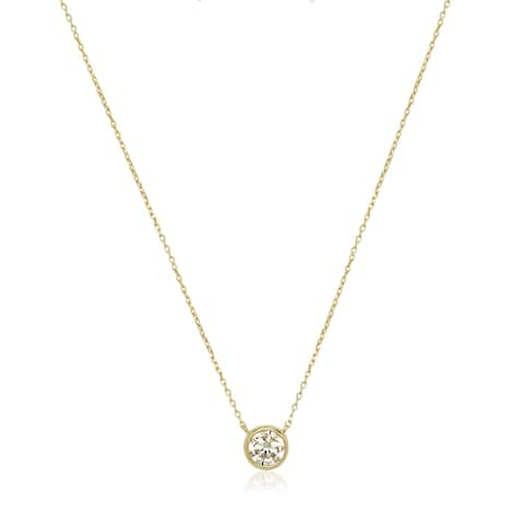 14k Gold 6mm Cubic Zirconia Bezel Solitaire Necklace - White