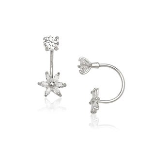 14k White Gold Flower and Round Cubic Zirconia Front and Back Earrings