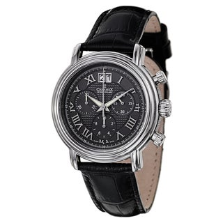 Charmex Men's Black/Grey Leather/Sapphire/Stainless Steel Watch