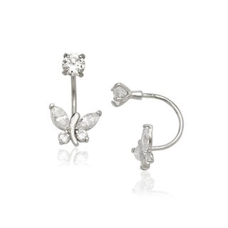 14k White Gold Butterfly and Round Cubic Zirconia Front and Back Earrings