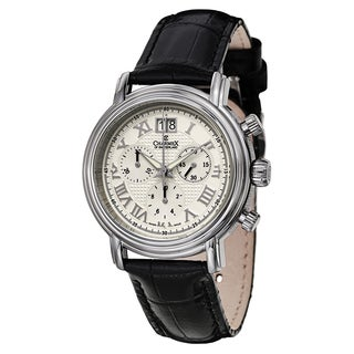 Charmex Men's White Dial Stainless Steel Water Resistant Swiss Quartz Watch