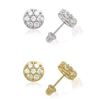14k Gold Cluster Round Cubic Zirconia Medallion Screw-back Earrings
