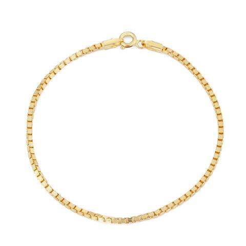 Gioelli Women's Gold-plated Silver Box Chain Bracelet