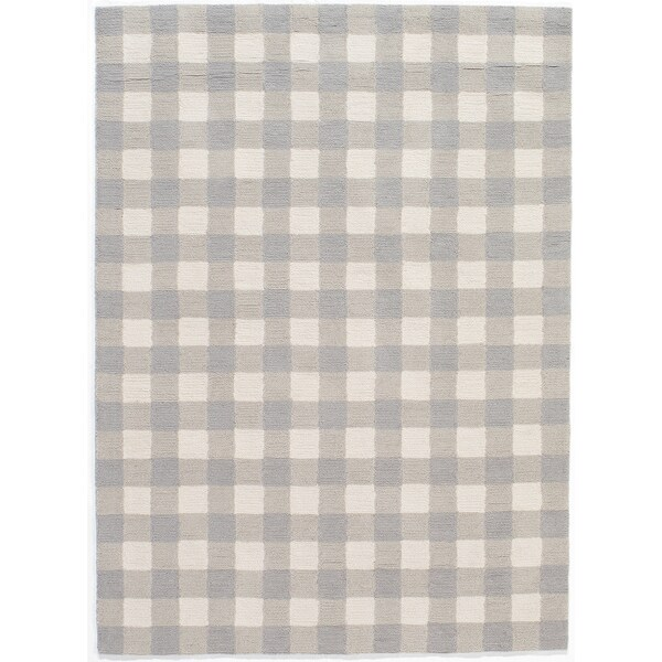 Gingham Rug: Hand-Hooked Gingham Polyester Rug (5' X 7')