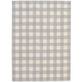 """Hand-Hooked Gingham Polyester Rug (3'6"""" x 5'6"""")"""