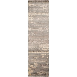 "Momeni Terra Grey Hand-Knotted Wool and Viscose Runner Rug - 2'3"" x 8' Runner"