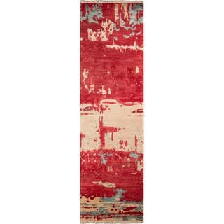"""Hand-Knotted Terrene Abstract Red Wool/Viscose Rug (2'3"""" x 8')"""