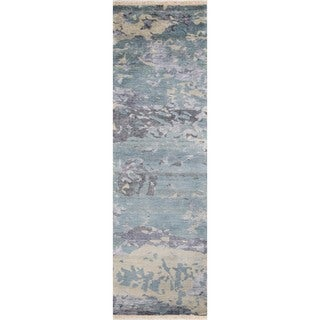 """Hand-Knotted Terrene Abstract Blue Wool/Viscose Rug (2'3"""" x 8')"""