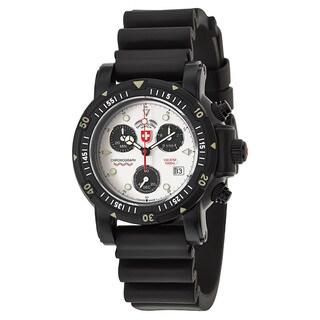 Swiss Military Men's Black/Silvertone Rubber/Sapphire/Stainless Steel Watch