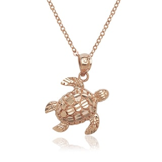 14k Rose Gold Textured Swimming Turtle Pendant Necklace