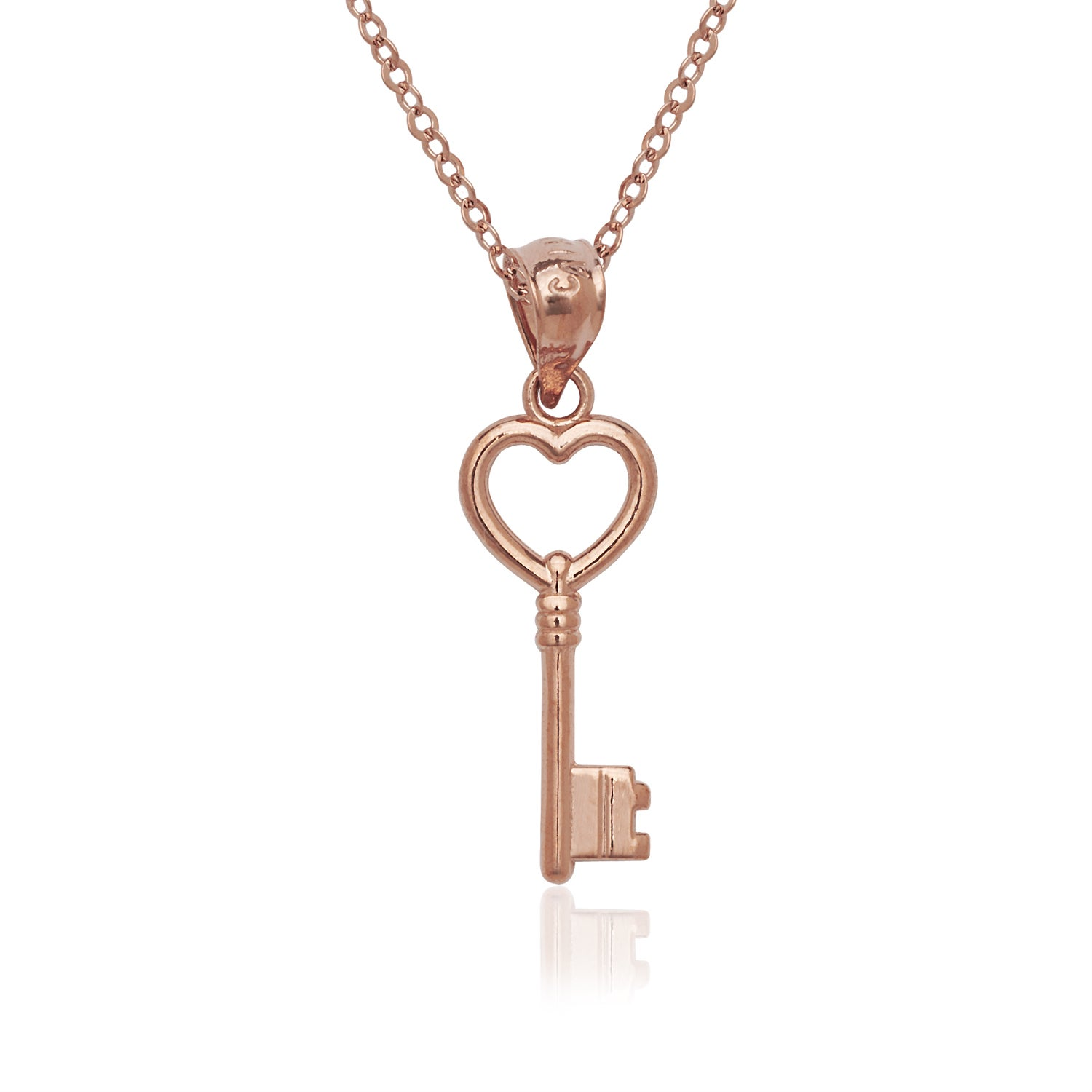 14k Yellow and Rose Gold Heart Love Key Pendant Necklace