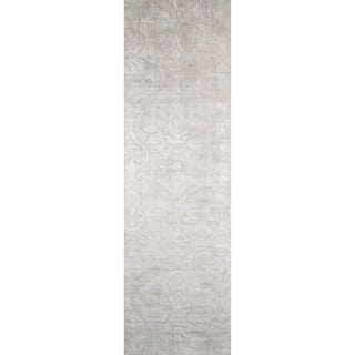 "Hand-Loomed Ava Silver Viscose Rug (2'3"" x 8')"