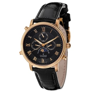 Charmex Men's Black Leather/Sapphire/Gold Watch