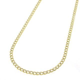 10K Gold Two Tone Cuban Curb Diamond Cut Pave Chain Necklace