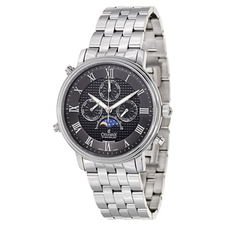 Charmex Men's Black/Silvertone Sapphire/Stainless Steel Watch