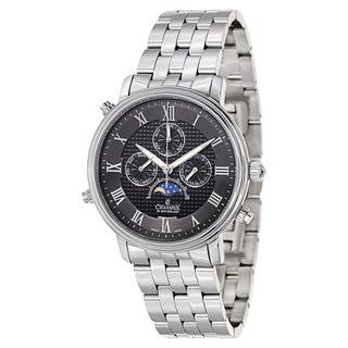 Charmex Men's Black/Silvertone Sapphire/Stainless Steel Watch