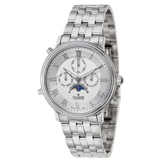 Charmex Men's White/Silvertone Sapphire/Stainless Steel Watch