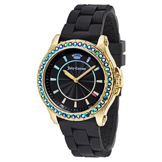 Juicy Couture Men's Black Rubber and Gold Watch