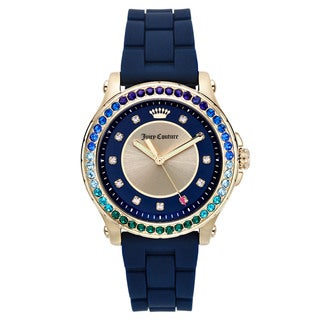 Juicy Couture Women's Casual Blue Rubber and Gold Watch