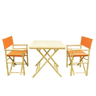 Zew Handcrafted Bamboo 3-piece Square Patio Set