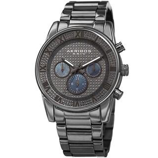 Akribos XXIV Men's Swiss Quartz Crystal Multifunction Stainless Steel Gray Bracelet