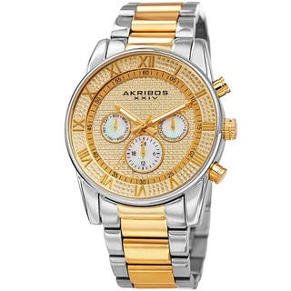 Akribos XXIV Men's Swiss Quartz Crystal Multifunction Stainless Steel Two-Tone Bracelet with FREE GIFT|https://ak1.ostkcdn.com/images/products/11910078/P18802420.jpg?impolicy=medium