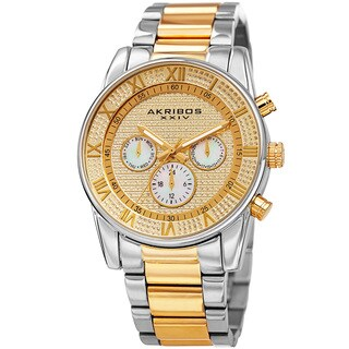 Akribos XXIV Men's Swiss Quartz Crystal Multifunction Stainless Steel Two-Tone Bracelet