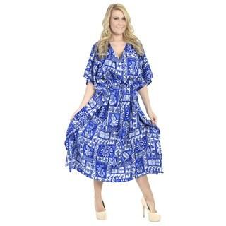 La Leela Smooth Likre Dress Tropical Women Beach Coverup Nightgown Kaftan Blue