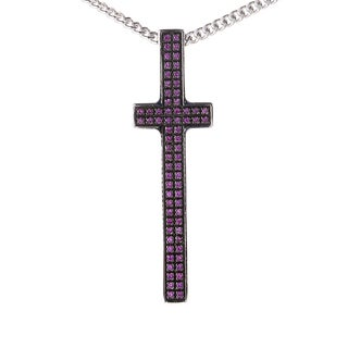 Pianegonda Silver and Ruby Cross Pendant Necklace