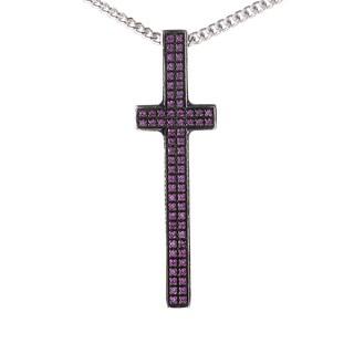 Pianegonda Silver and Ruby Cross Pendant Necklace