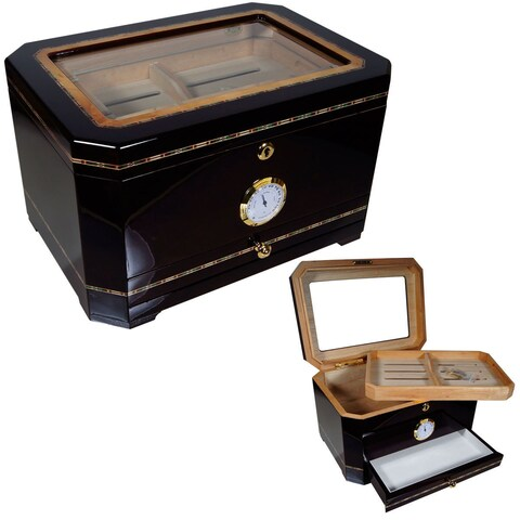 Cuban Crafters El Mirador Brown Wood/Glass Humidor for 100 Cigars