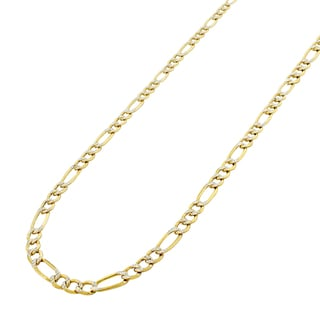 10-karat Gold Two-tone Diamond-cut 4-millimeter Hollow Pave Figaro Chain Necklace