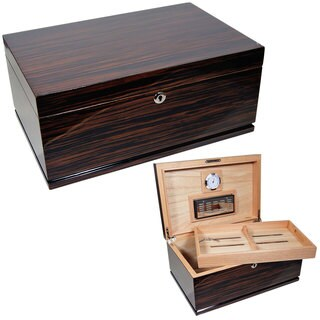 Cuban Crafters Gran Majestad Brown Wood 15 inch x 10 inch x 6 1/5 inch 150 Cigar Humidor
