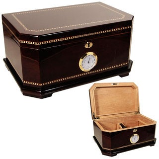 Cuban Crafters Exclusivo Brown Wood Cigar Humidor for 100 Cigars