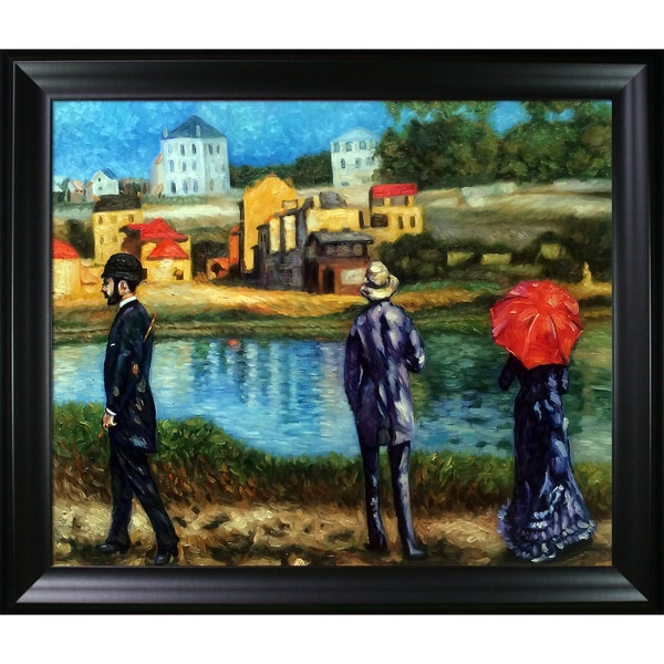 Celito Medeiros 'A Day Along the Shore' Hand Painted Framed Canvas Art