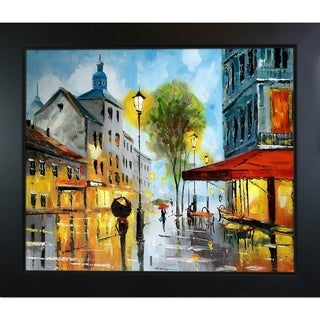 Celito Medeiros 'Cafe on a Rainy Day' Hand Painted Framed Canvas Art