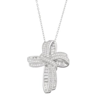 Gioelli Sterling Silver Milgrain Pave CZ Cross Pendant Necklace