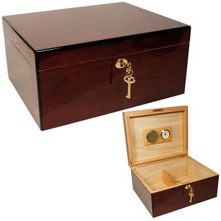 Cuban Crafters Amor 425 Brown Wood Fine Cigar Humidors for 50 Cigars