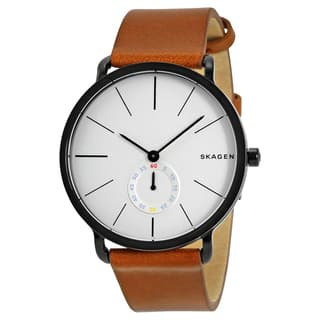 Skagen Men's Hagen White Dial and Brown Leather Strap Watch|https://ak1.ostkcdn.com/images/products/11910126/P18802479.jpg?impolicy=medium