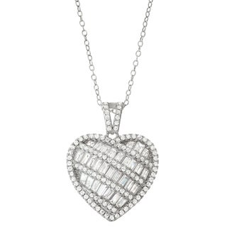 Gioelli Sterling Silver Cubic Zirconia Heart Pendant Necklace