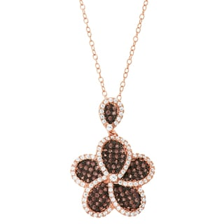Gioelli 14k Rose Gold Plated Silver Mocha Cubic Zirconia Flower Pendant Necklace