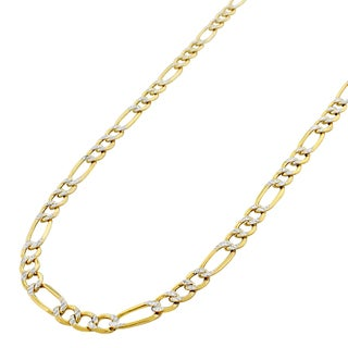 """10k Yellow Gold 5mm Hollow Figaro Link Diamond Cut Two-Tone Pave Necklace Chain 18"""" - 30"""""""