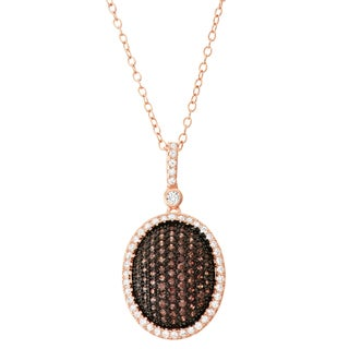 Gioelli 14k Rose Gold Plated Silver Mocha Cubic Zirconia Oval Pendant Necklace