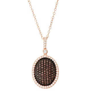 Gioelli Silver Mocha Cubic Zirconia Oval Pendant Necklace|https://ak1.ostkcdn.com/images/products/11910131/P18802431.jpg?impolicy=medium