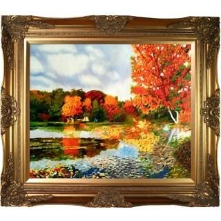 Celito Medeiros 'Autumn Landscape' Hand Painted Framed Canvas Art
